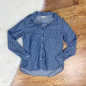 Loft | Chambray Floral Button Down Top Size Medium